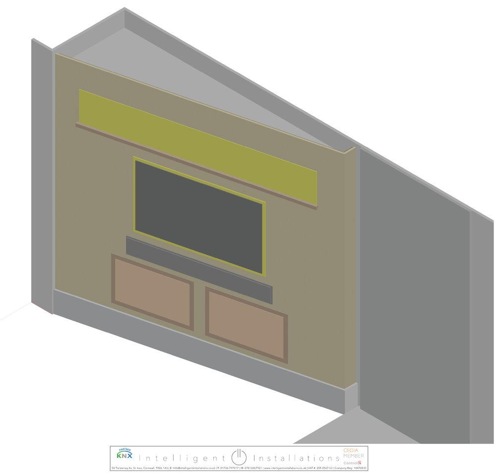 Media Room 3D Render
