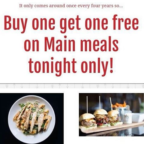 Come to Crust tonight for buy one get one free on main courses. Use code Leapyear when you reserve via our website to claim the offer. Remember, Today online.