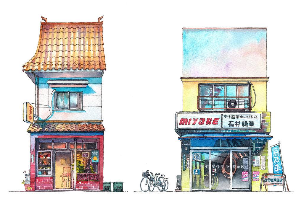 Chinese food restaurant from around the Takadanobaba district and Miyake bicycle shop based on shops from Kagurazaka and Kichijyouji