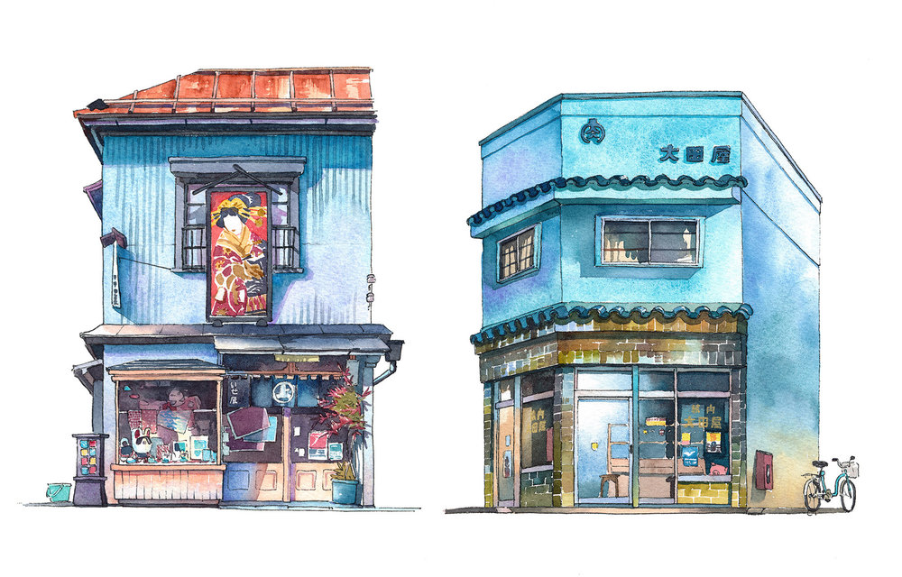 Isetatsu traditional color woodblock print store from Yanaka district and Ootoya meat shop from Koujimachi district
