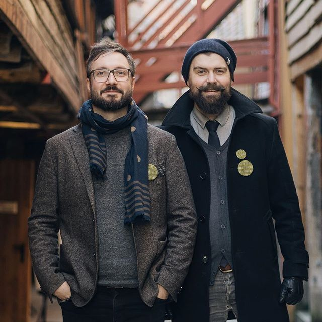 Say hello to the conductor guys! :) @jhaland (left) is a designer, 3d visualizer, animation and brand creator, and the man with the plan. @leketoys (right) is a illustrator, designer and art director, and the guy with the button machine. Photo by @jacoblysgaard #introduction #designers #artdirector #illustrator #cofl #coflnorway #conductoroflight #accessories #gear #geargeek #reflective #tweed #button #handmade #fabric #bryggen #bergen #norway #smau #vibrant #yellow #woodpanel #fashion #fashionstyle