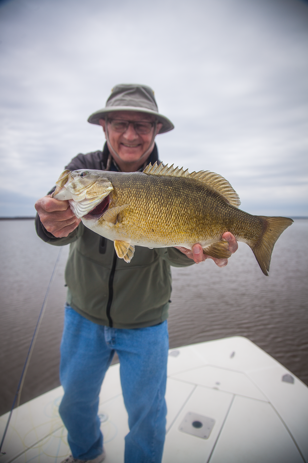 Don with a classic pre-spawn smallmouth.  Pre-spawn fishing is some of the best action of the year with a great shot at big fish in shallow water.