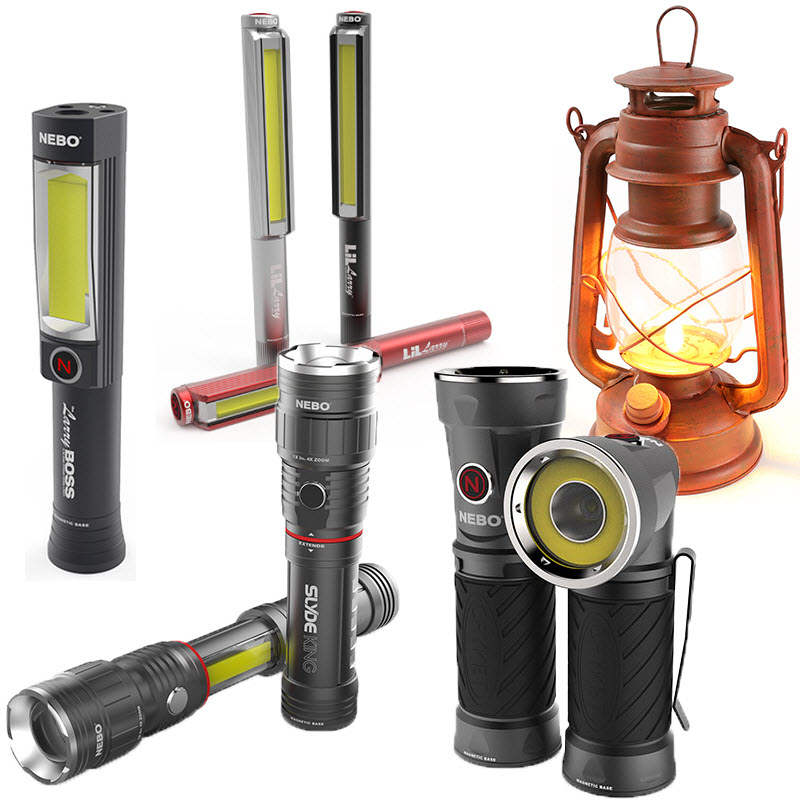 Lights for Many Applications - Flashlights, work lights, lanterns, and more!Some of the styles we carry: Big Larry, Blas, Boss, Cryket, Larry, Leo, Lil Larry, Old Red Lantern, Poplite, Poppy, Slyde, Slyde King, and Tilt.Call ahead for store availability!