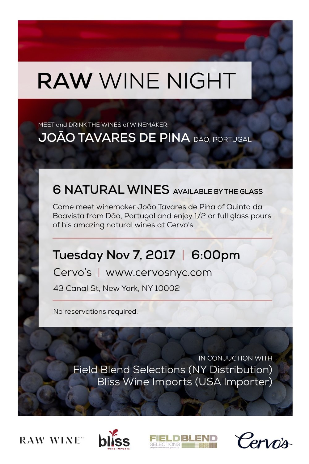 Join the amazing folks at Cervo's NYC on Tuesday, November 7th where Joao Tavares de Pina from Quinta da Boavista will be on hand to pour six amazing Portuguese wines from the Dao going back to 2002. Book now at https://www.cervosnyc.com/ or stop by. Walk-ins are encouraged!