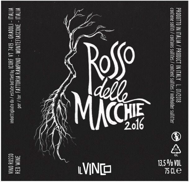 "- Il Vinco Rosso delle Macchie, 2016Made from 100% Canaiolo Nero from ""piede franco"" ungrafted vines and planted in the volcanic soil of Marta on the shores of Lake Bolsena. After crushing and destemming, the grapes ferment spontaneously in cement vats with its own natural yeasts and without the help of other oenological products. No clarification/filtration is carried out and minimal sulfur dioxide (25 mg/l) is added only during bottling. Following an eight day maceration, the wine remains in cement and steel vats for 18 months, before it is bottled and aged for 3 months before release. 14% alcohol."