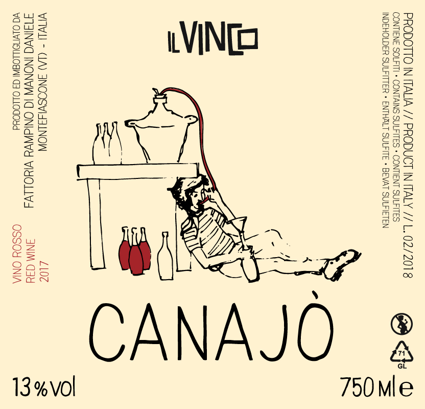 -  Il Vinco Canajo Vino Rosso (Canaiolo Nero) 2017Made from 100% Canaiolo Nero from 20 year old vines and planted in cordone speronato. The vineyard is biodynamic as of 2017, with only small amounts of copper and sulfur used. After de-stemming, the grapes are spontaneously fermented in concrete tanks. After fermentation for eight days in concrete, the wine is transferred to stainless vats where it rests for three months before release. Minimal SO2 (26mg/l) is added at only at the bottling phase. 12.5% alcohol. This is light, fresh and juicy with lots of length.