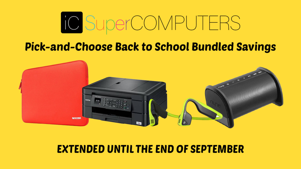 When you purchase a computer, or tablet at iC SuperCOMPUTERS with extended warranty you will receive a special discount on a select item. Visit our store for more details.