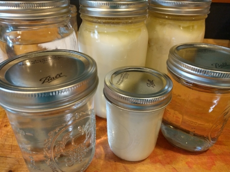 Jars with hot water are perfect to keep a closed cooler warm enough to incubate your yogurt for 8 hours or more...