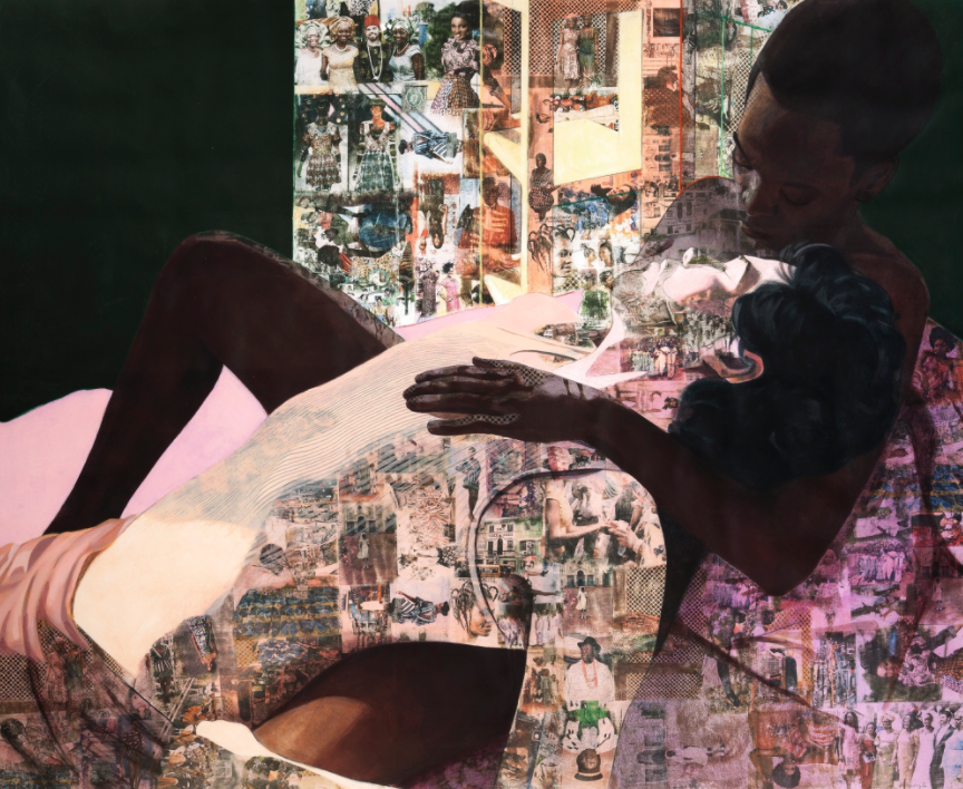 Njideka Akunyili Crosby's  Drown,  2012 | Courtesy of Sotheby's.  ©  Njideka Akunyili Crosby.
