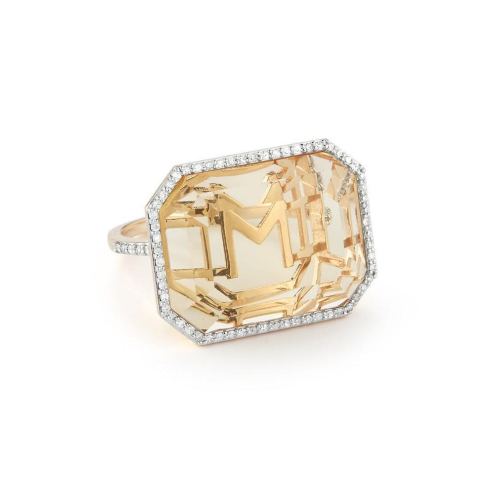 Mateo 14Kt Gold Grand Diamond Frame Crystal Quartz Secret Diamond Initial Ring