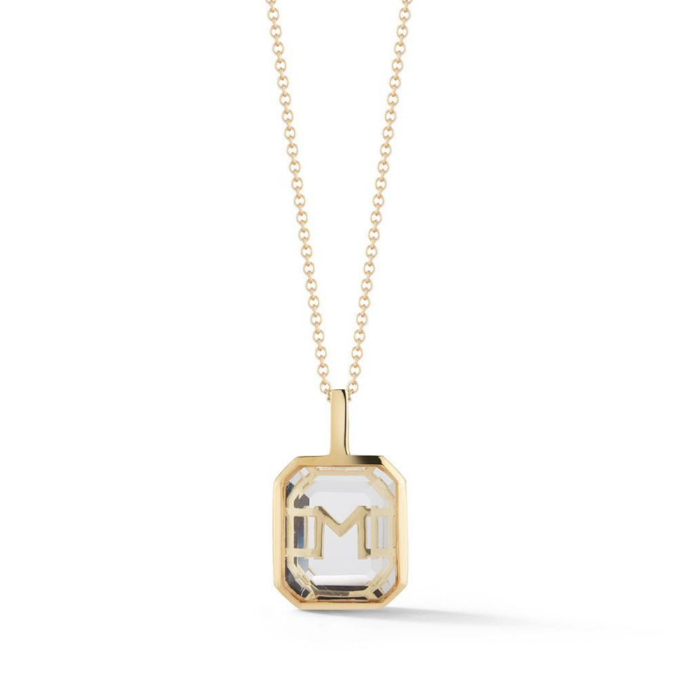 Mateo 14Kt Gold Frame Crystal Quartz Secret Diamond Initial Pendant