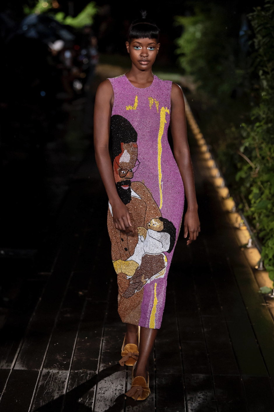 Model Sira P. Kante wearing Pyer Moss Spring 2019 with Derrick Adams and shoes by Brother Vellies / Photo Courtesy Yannis Vlamos / Indigital.tv