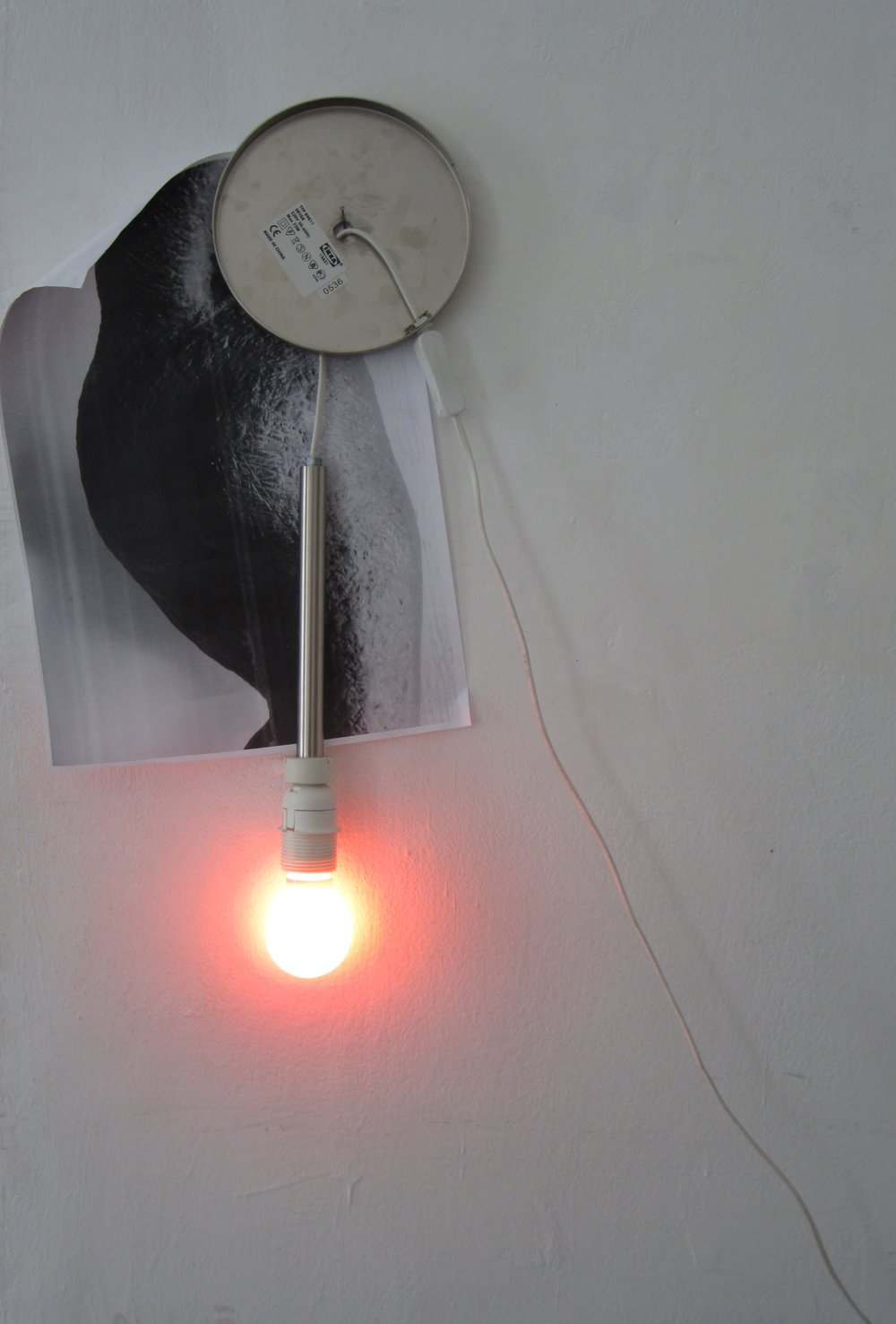Member of The Family    – A4 black and white digital print of a Dora Gordine sculpture, unscrewed Ikea lamp and amber light bulb, on a nail, Labor Gallery, Budapest, 2015