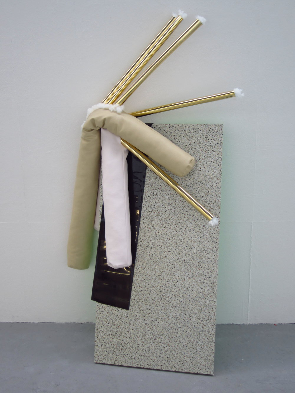 the last two days II    – fluorescent green paint and 'marmi' self-adhesive film on board with gold mirror card, stuffing, white and beige leatherette and black PVC, 2014