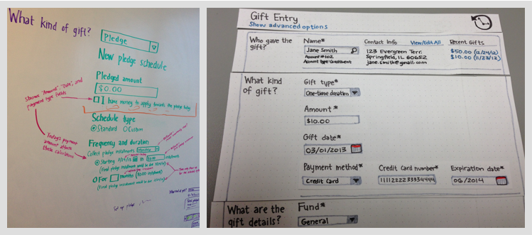 Sketching ideas for the form UI helped to quickly validate workflow ideas without yet focusing on visual design.