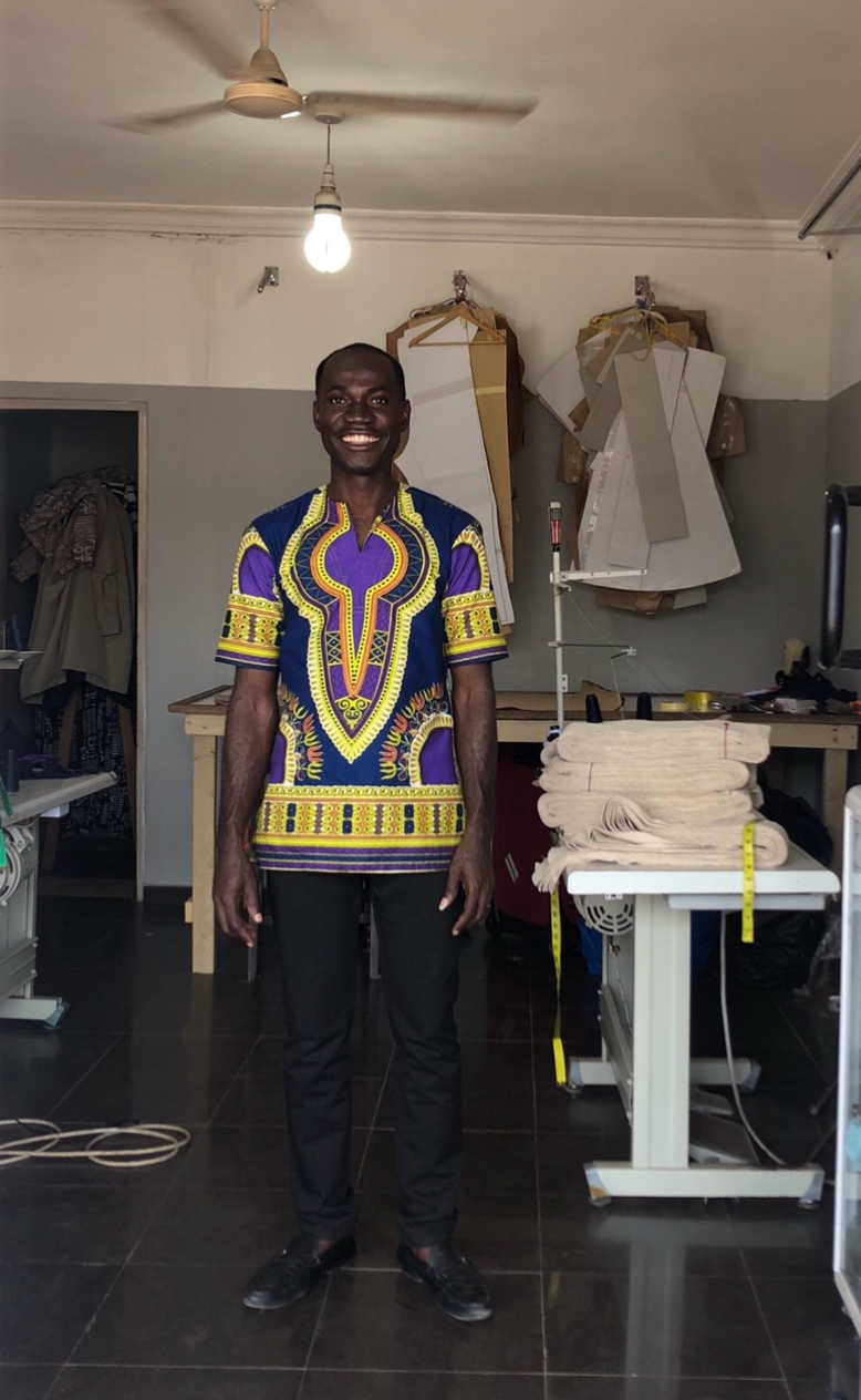 JUSTICE ABORA - is our production manager and partner for our RTW collection. He was part of the team who set up the Ethical Fashion Initiative in Ghana and owns now his own workshop.