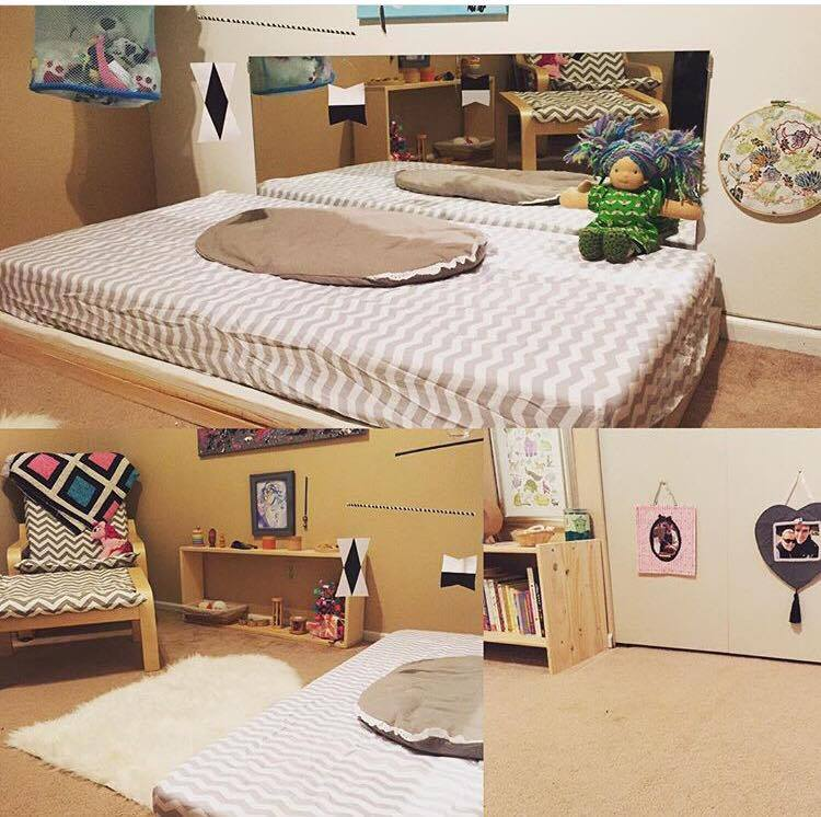 Our original nursery, when Noora was still in a bassinet in our bedroom and we used her bed as her movement and mobile area during the day. Pinterest worthy floor bed room.