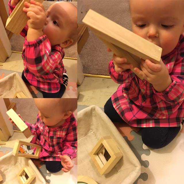 Her fav thing to look at in her mirror blocks is herself. <3