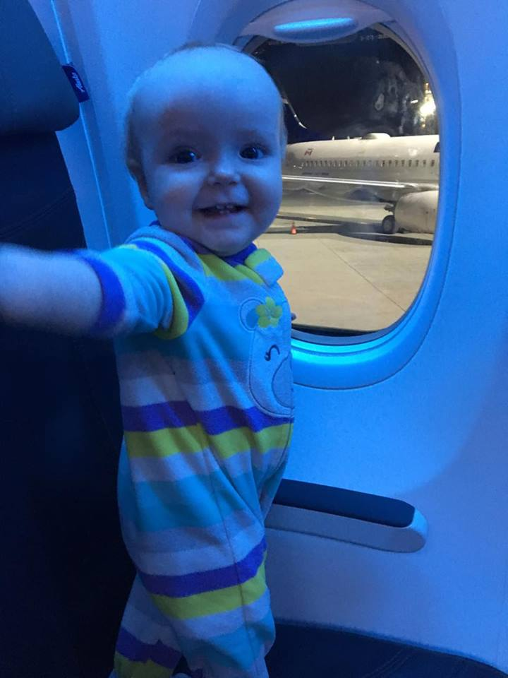 This kid loves airplanes.