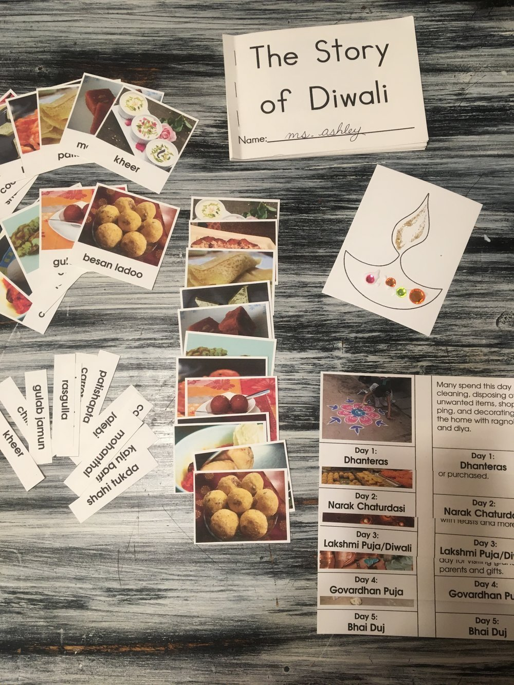 Just some of the Diwali materials included!