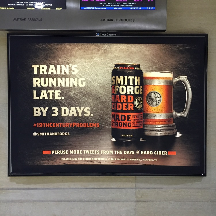 We placed a bunch of locomotive  ads in Chicago' METRA Station