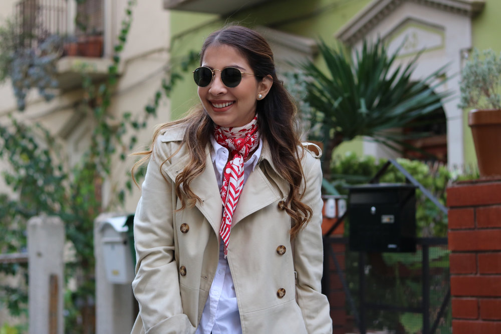 Red Silk Scarf and Trench coat