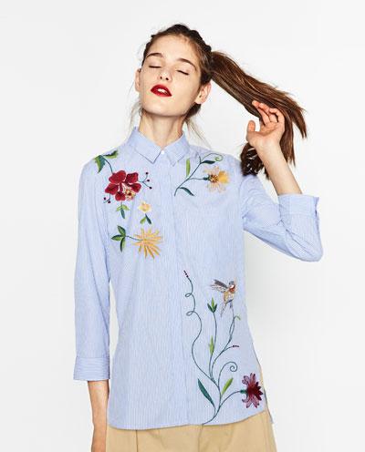 Camisa Popelin Bordada