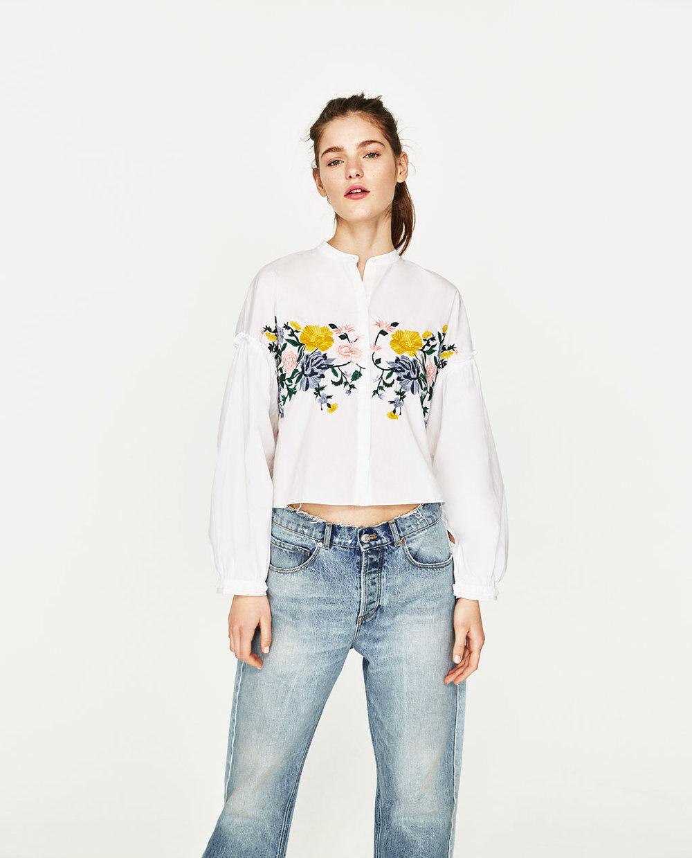 Camisa Crop Flores
