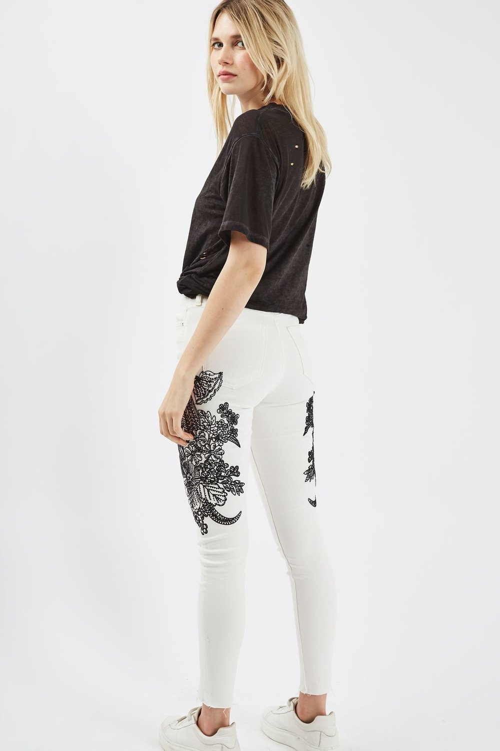 White Embroidered Jeans