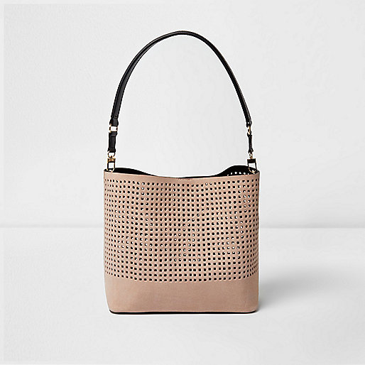 Laser Cut Bucket Bag River Island