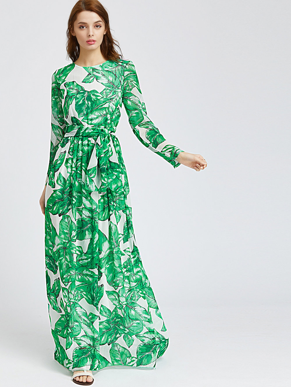 Vestido boho con hojas