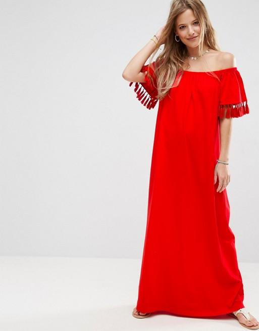 Red pom pom dress