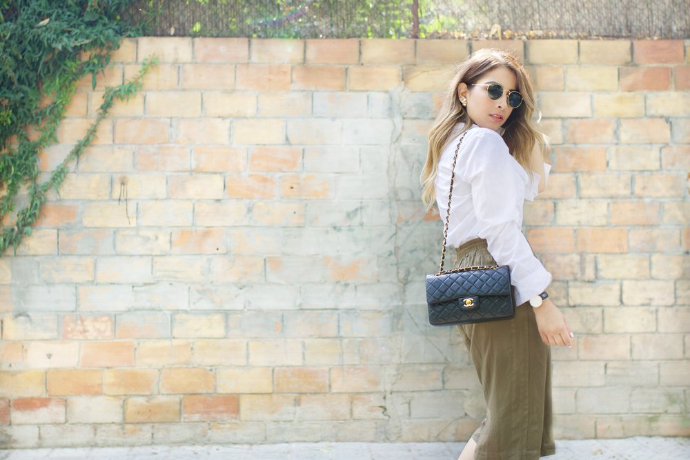 Green culotte and Chanel Small Flap
