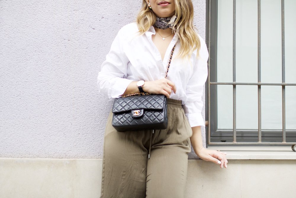 Green Culottes and Chanel Small Flap