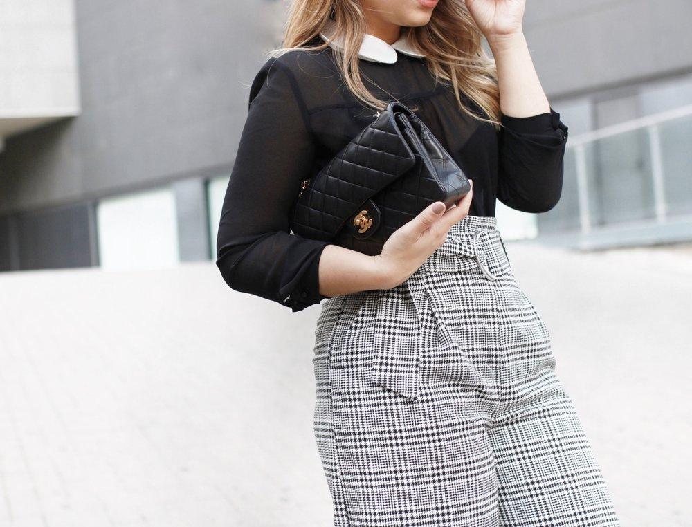 Plaid pants and Chanel bag