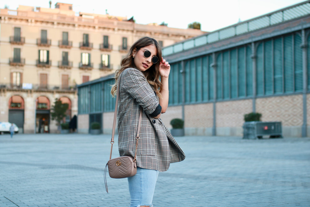 Plaid blazer and graphic tee