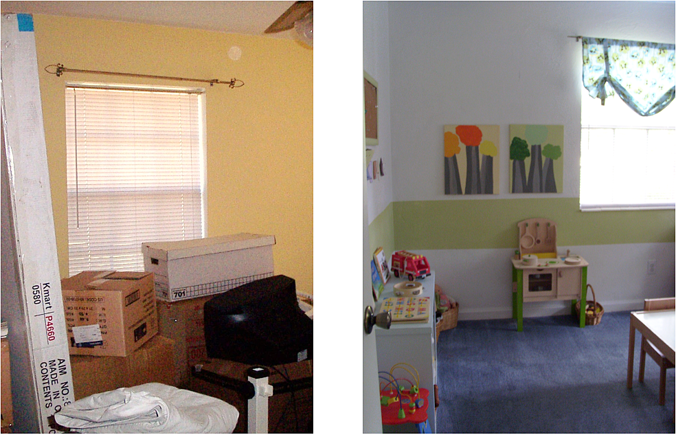 kids toy and playroom organized before and after
