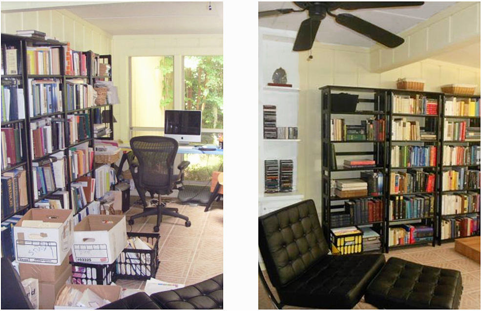 office workroom before and after