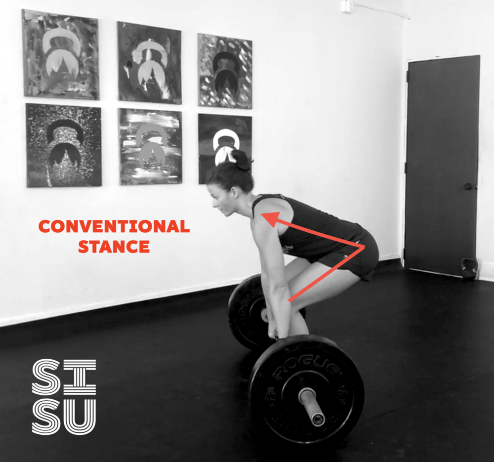 Conventional stance brings the spine more horizontal