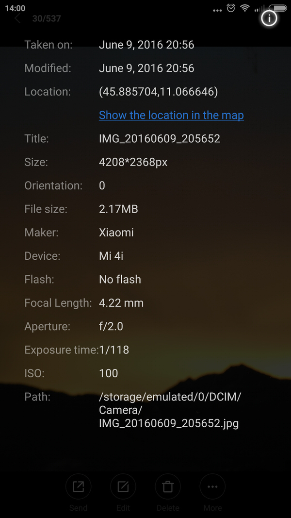 EXIF metadata displayed in the Gallery application on an Android phone