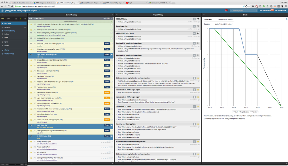 A Screenshot from one of our projects in Pivotal Tracker