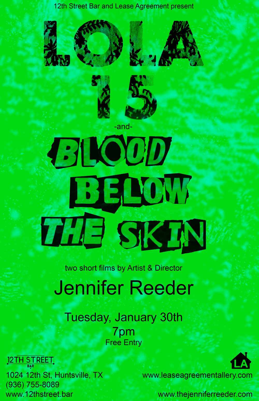 "Jennifer Reeder - The 12th Street Bar and Lease Agreement present two short films, Lola, 15 (5 min, 2017) and Blood Below the Skin (32 min, 2015) by artist and director Jennifer Reeder.Jennifer Reeder constructs personal films about relationships, trauma and coping. Her award-winning narratives are innovative and borrow from a range of forms including after school specials, amateur music videos and magical realism. These films have shown consistently around the world, including the Sundance Film Festival, The Berlin Film Festival, The Venice Biennale and The Whitney Biennial.She recently founded a social justice initiative called TRACERS BOOK CLUB which has been featured recently at the Museum of Contemporary Art in Chicago and won a Propeller Fund Grant for a year of radical programming around the theme of ""women's work.""Jennifer Reeder received an MFA from The School of the Art Institute of Chicago. She is currently an Associate Professor in Moving Image and the Head of the Art Department in the School of Art and Art History at the University of Illinois at Chicago. She lives in Indiana with her three young children.More about Reeder and her work can be found on her website:www.thejenniferreeder.comJanuary 30, 20187pmEntry is free21+12th Street Bar1024 12th St.Huntsville, Texas 77340www.12thstreet.barwww.leaseagreementgallery.com"