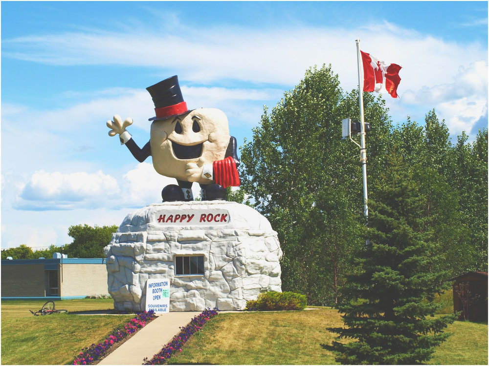 PHOTO CAPTION: A monument in Gladstone, Manitoba, Canada, Peter's birthplace. Peter was disturbed that the commissioned piece was called Art. SOURCE: Subcutaneous Theatre archives.