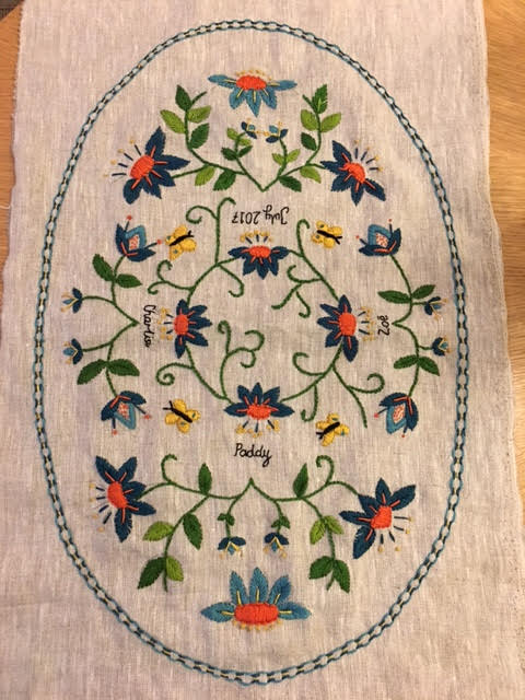 satin stitch floral embroidery with words