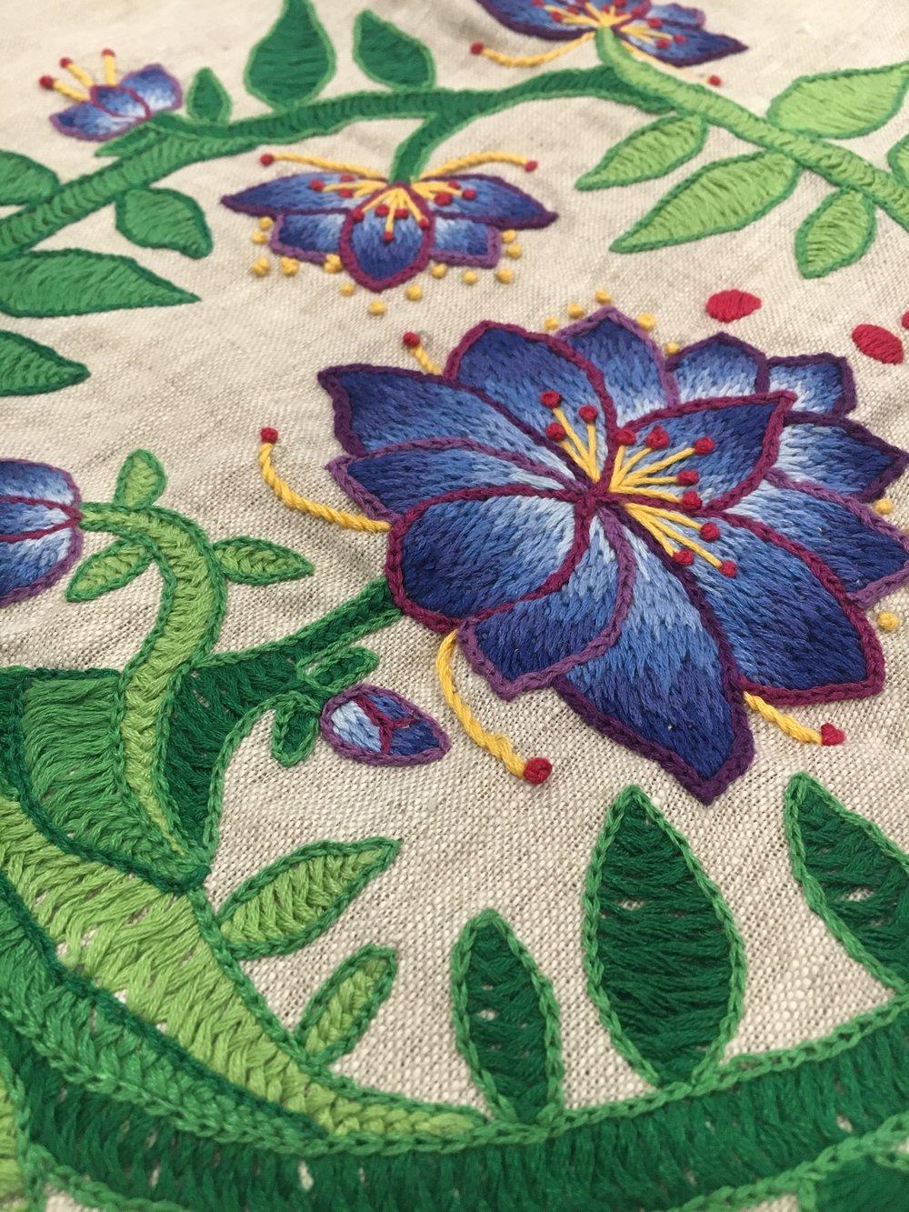 floral herringbone stitch embroidery with long and short stitch