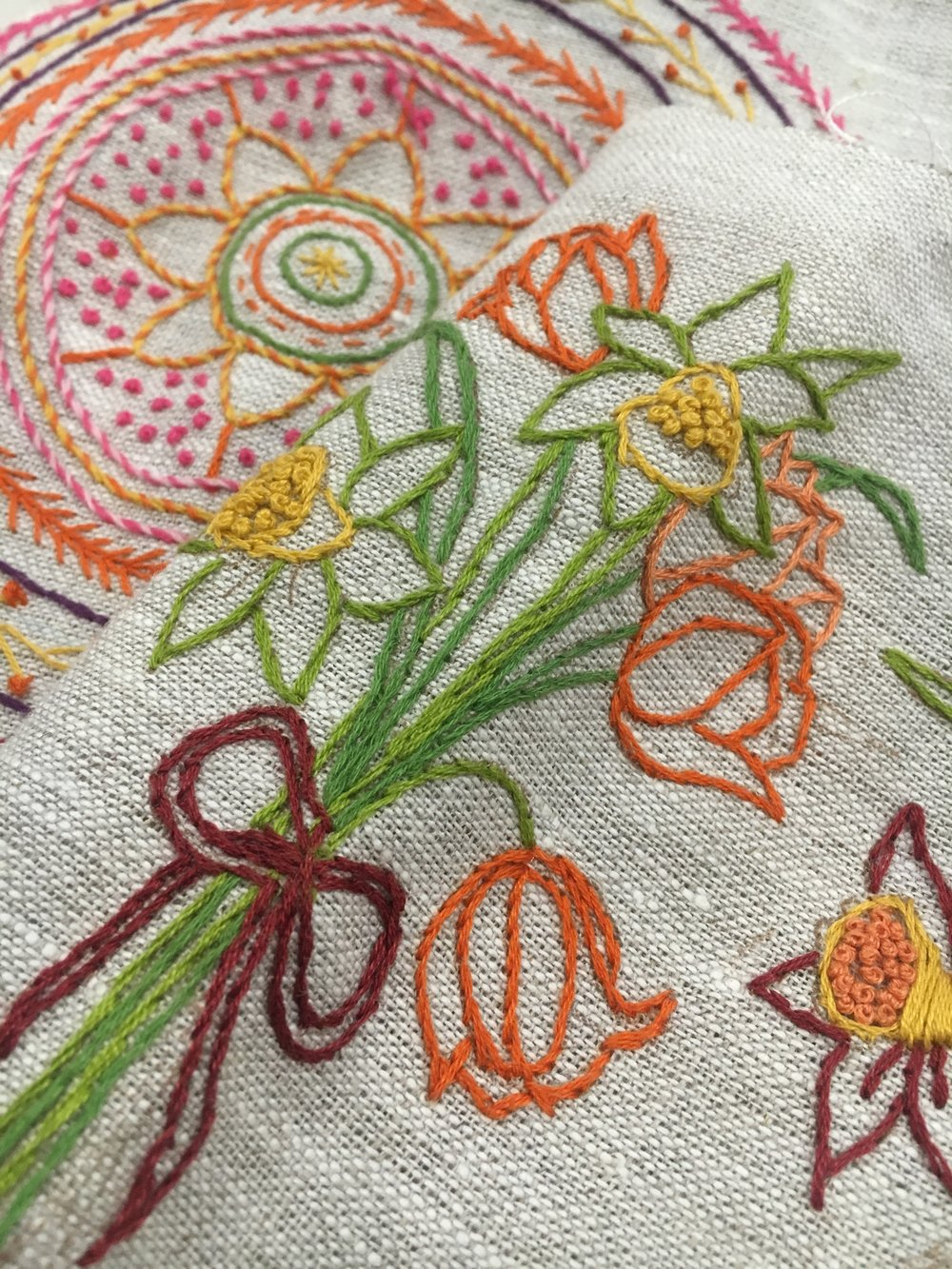 stem stitch floral embroidery