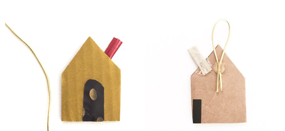 Cardboard House Ornament - 5