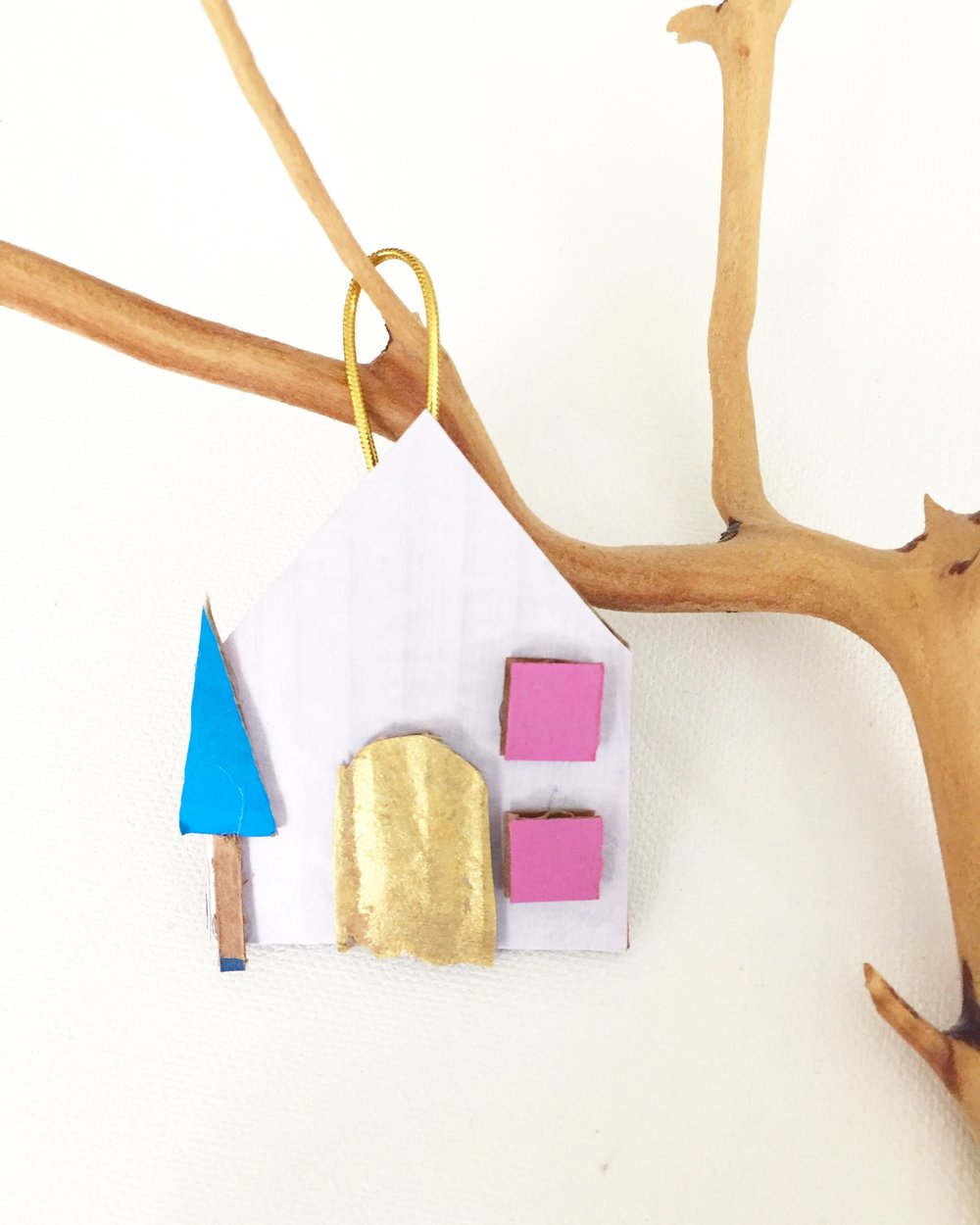 Cardboard House Ornament - 6