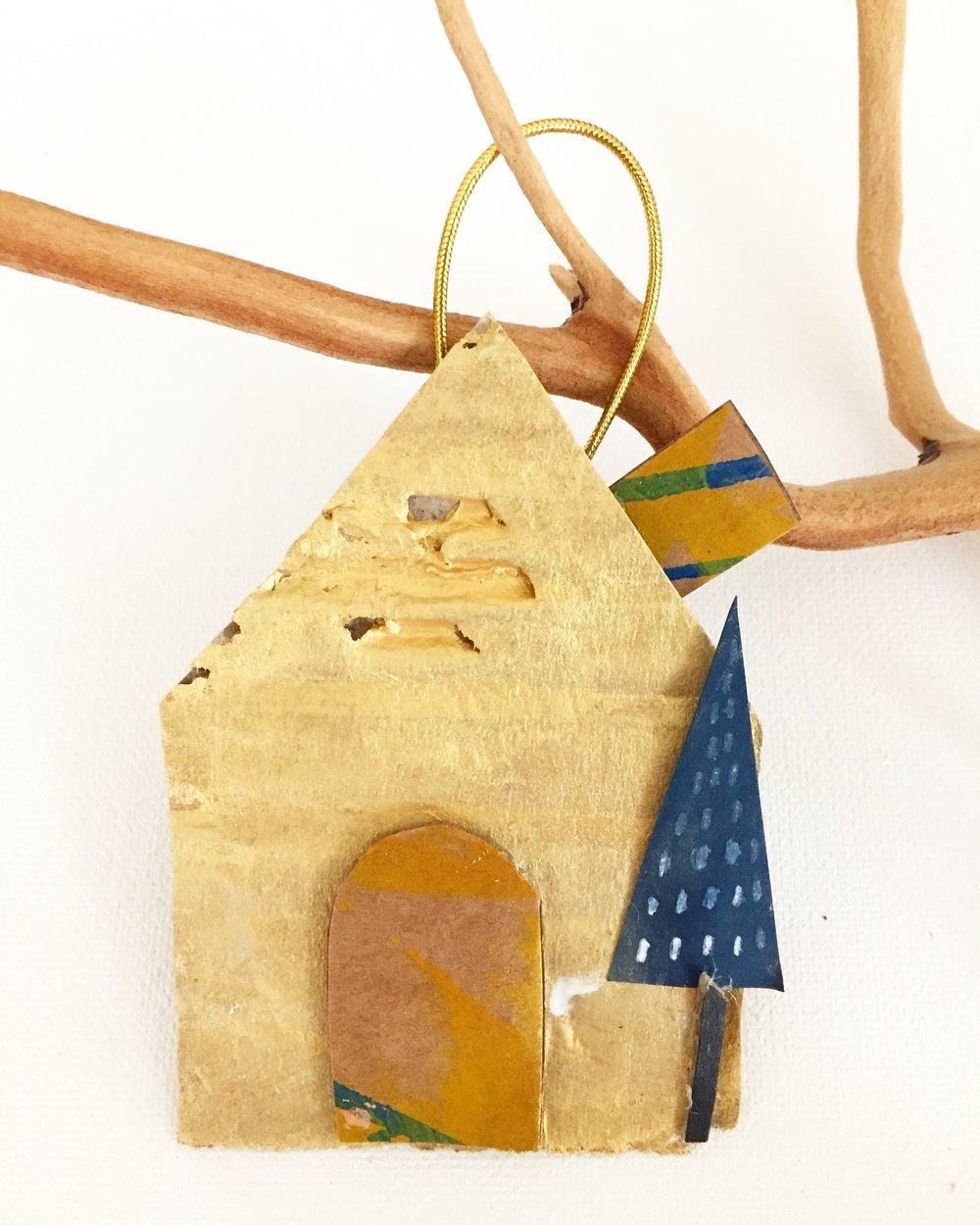 Cardboard House Ornament - 8