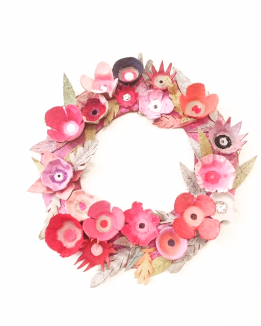 Egg Carton Flower Wreath 1